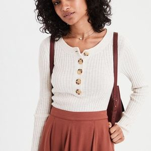 💕NWT💕AE FITTED RIBBED HENLEY SWEATER